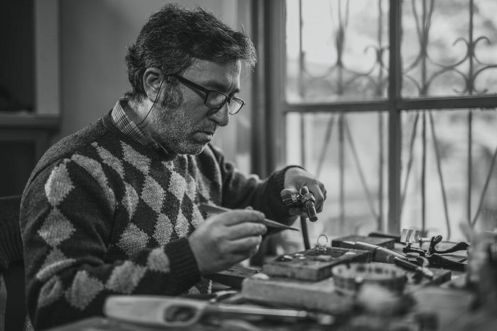 man repairing jewellery